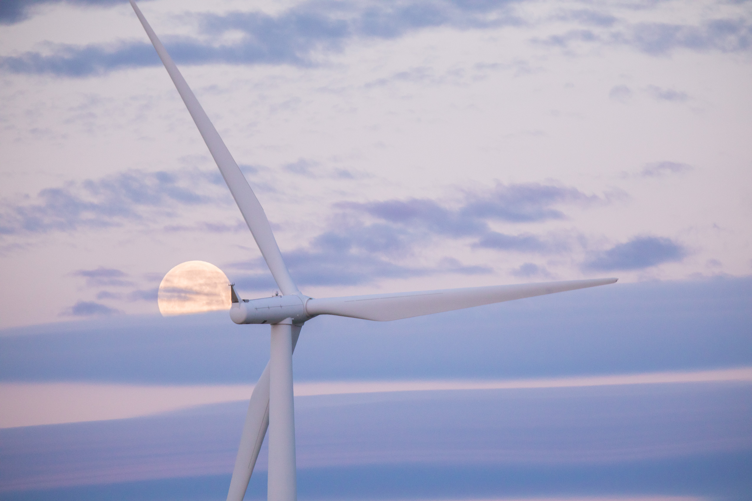 moon and clouds with wind turbine