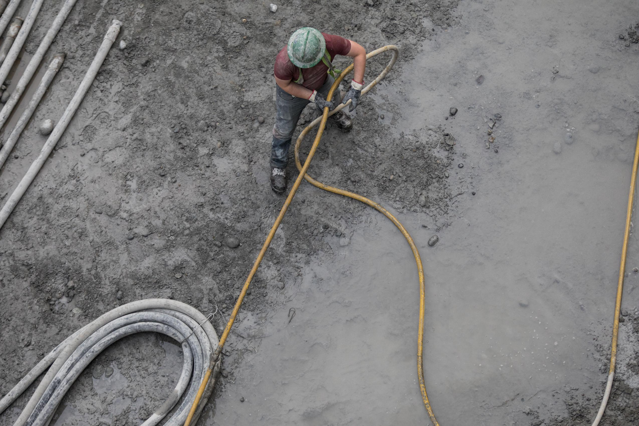 aerial view of cement worker