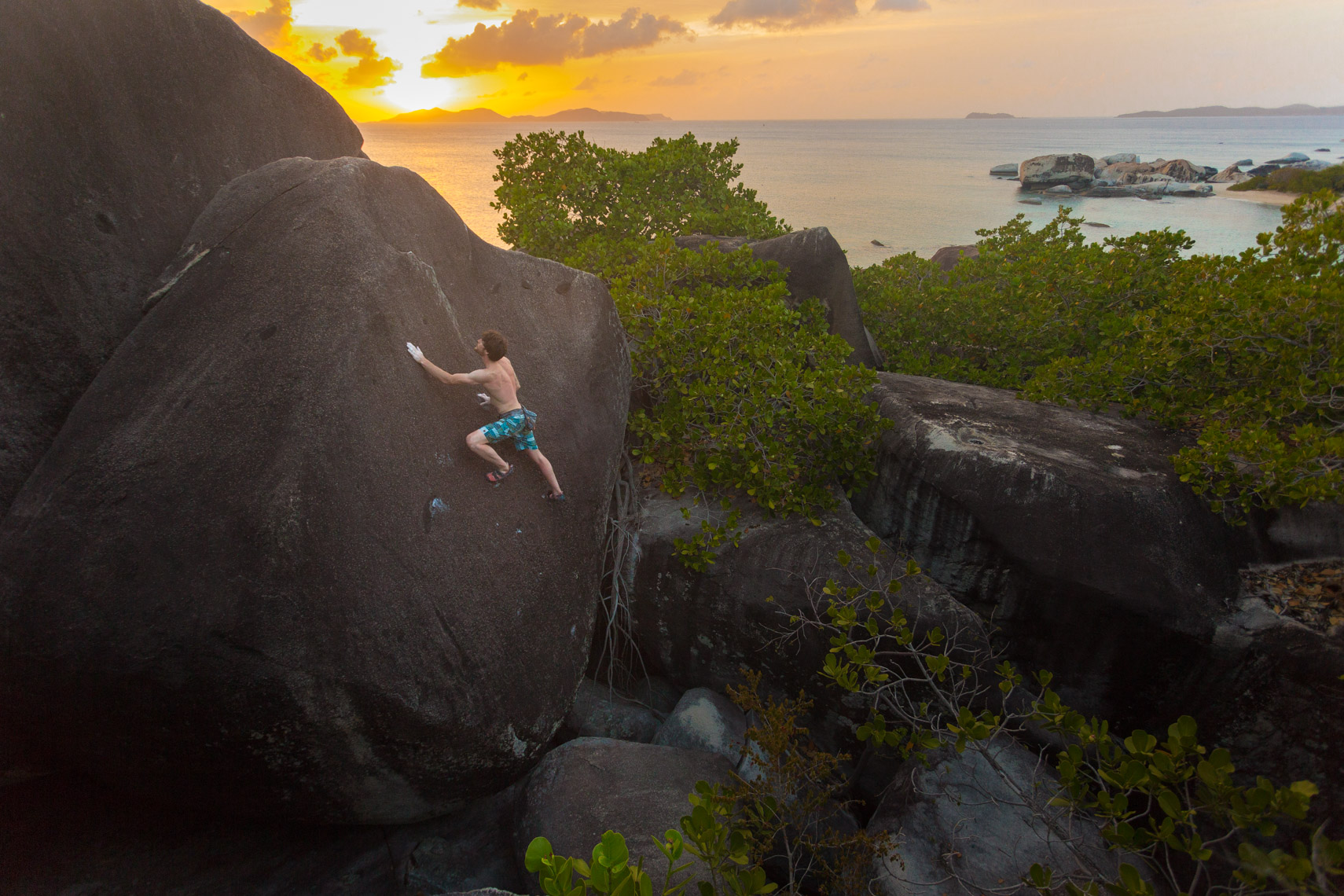 Climber Jimmy Webb in Virgin Gorda