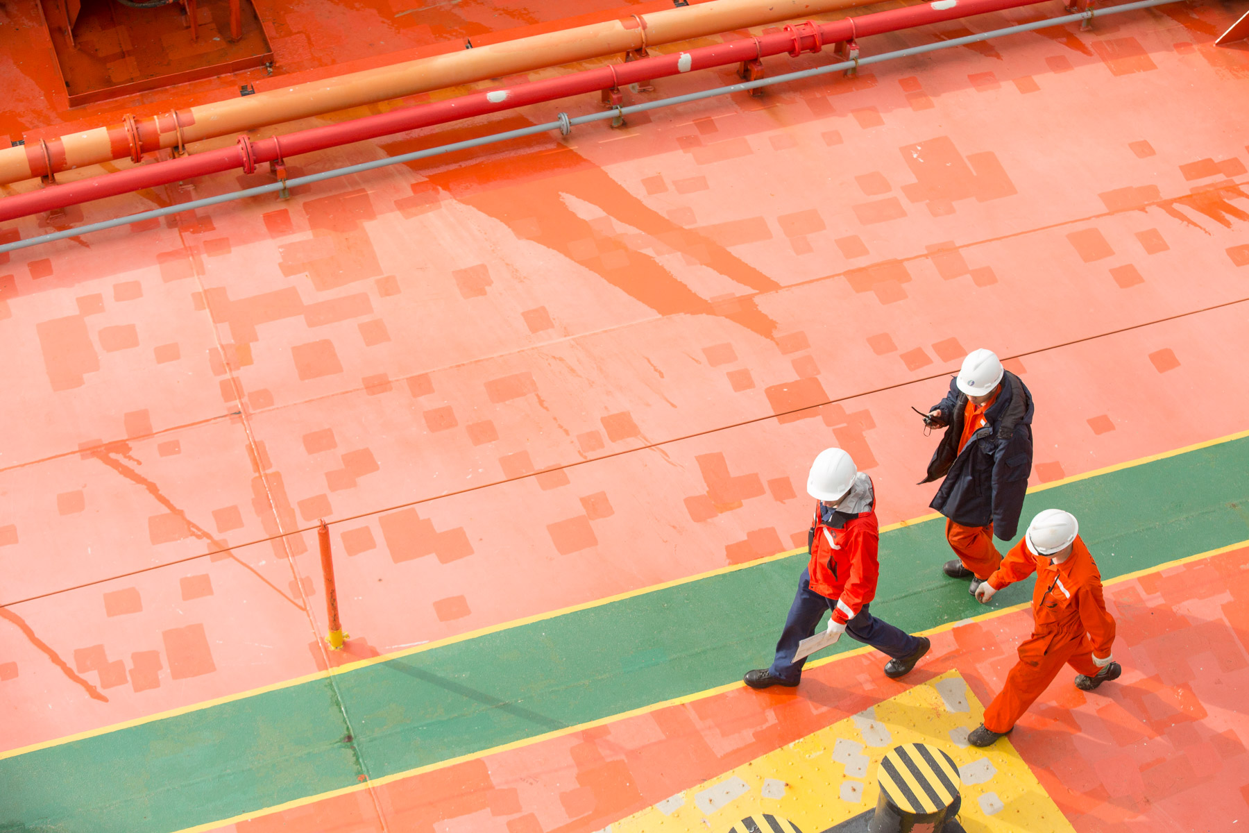people on large ship deck