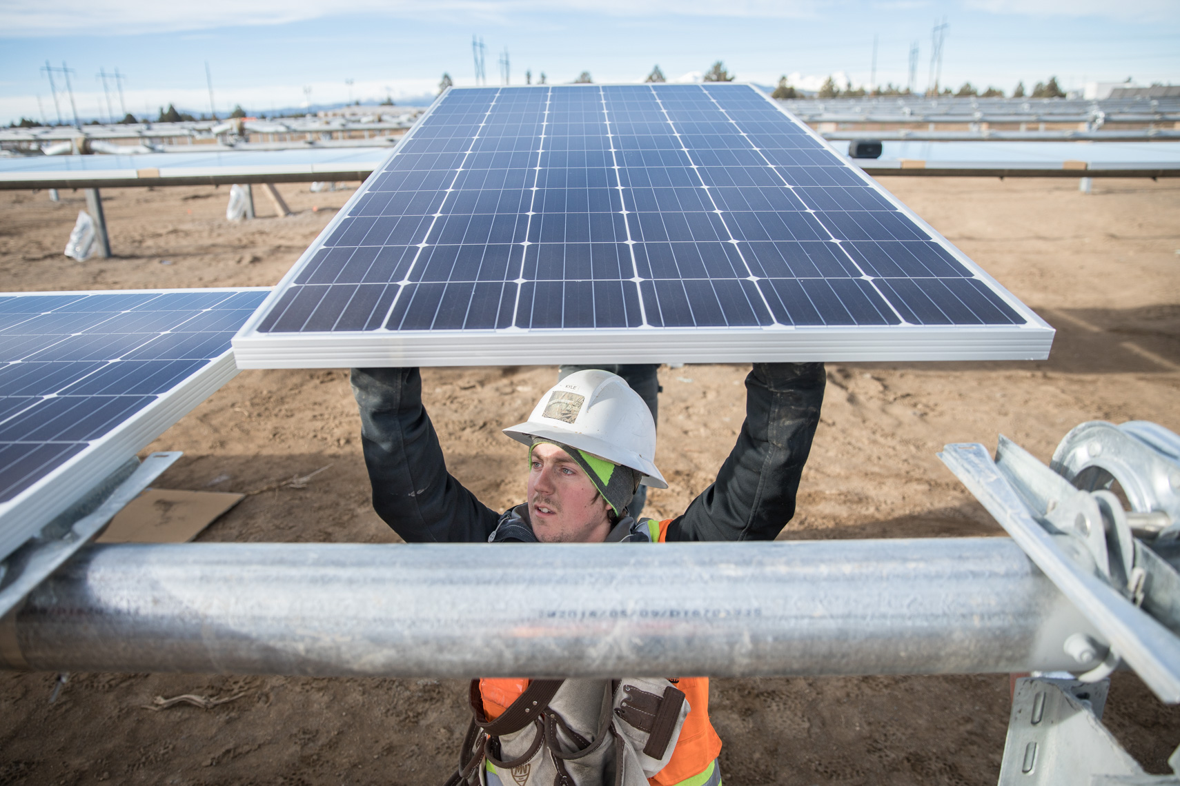 solar energy farm worker